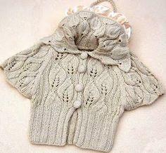 short jacket with leave pattern - free pattern knitchart