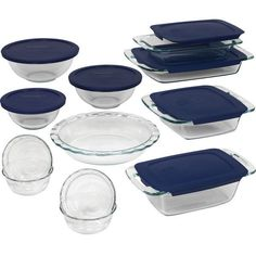 19-piece Bakeware Glass Set Cooking Baking Kitchen Clear Storage Dish Containers #Pyrex