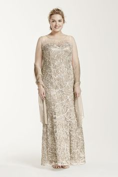 Novelty Plus Size Sleeveless Beaded Illusion Neckline Long Mother of Bride/Groom Dress - Champagne (Yellow), 18W