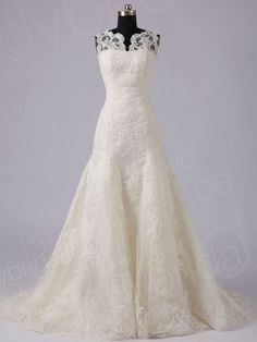 Drop Waist Tank Top Chapel Train Lace Champagne Wedding Dress H7lblb3867