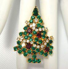 RARE Vtg EISENBERG ICE Signed Red & Green Rhinestone Christmas Tree Brooch Pin