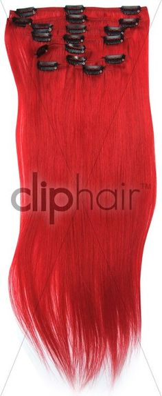 Double Weft Full Head Clip in Hair Extensions I Funky Shades - Fire Red / Bright Red I Real Human Hair I From £54.99