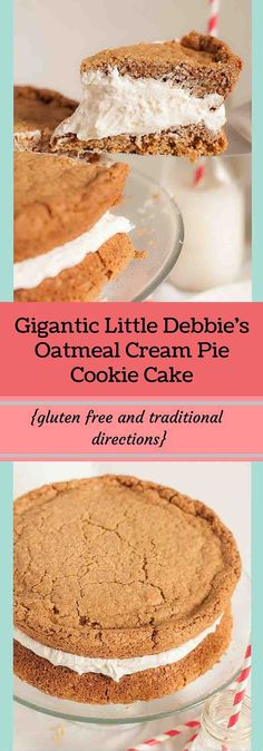 This Gigantic Little Debbie's Oatmeal Cream Pie Cake recipe is the exact epitome of the snack cake you grew up with, super sized! Spot on, identical taste! www.mamagourmand.com