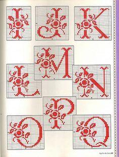 Maria Ferreira uploaded this image to 'Bordados ponto cruz'. See the album on Photobucket. Cross Stitch Letters, Just Cross Stitch, Cross Stitch Charts, Cross Stitch Designs, Stitch Patterns, Crochet Alphabet, Crochet Letters, Alphabet Art, Embroidery Letters