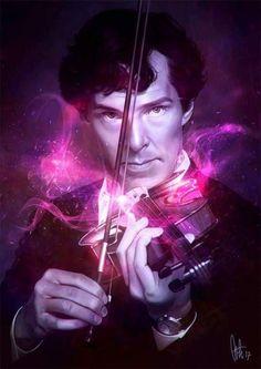 Sherlock playing his violin fanart