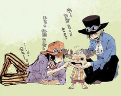 Ace, Chopper, Sabo, funny, text, cute, pinching, cheeks; One Piece