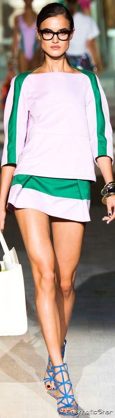 DSquared2 SS-15 RTW: color blocked top & mini skirt.