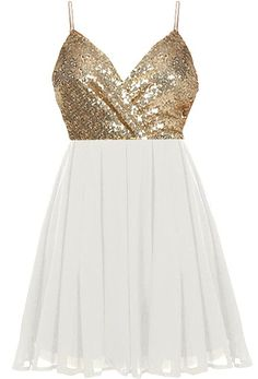 Party Primping Dress: Features a glittering gold surplice bodice, adjustable spaghetti straps which criss-cross at the backside, centered rear zip closure, and a beautifully gathered A-line skirt to finish.