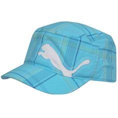 481b795a425 Puma Clairmont Military Womens Golf Hat Blue Green Plaid Girls Golf