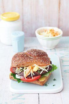 Rezept für veganen Portobello-Burger mit Coleslaw
