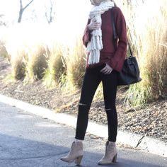 red bell sleeve sweater with chunky knit scarf