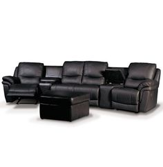 "Black leather home theater seating. Oh for home theater seating that is 1) comfortable and 2) not black and 3) works for anything other than a ""man-cave."" I want a girly rustic home theater, dammit!"