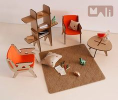 modern cardboard furniture for doll house, MALI workshop!