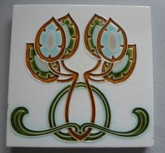 ! Florale Jugendstil Fliese art nouveau tile tegel V & B Dresden