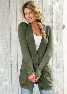 Take the colors of fall into your wardrobe! Venus extra long cardigan.