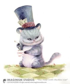 Tea Time with Cheshire Cat by `imaginism- I clicked for the Alice art, but there is a lot of other goodies by this artist