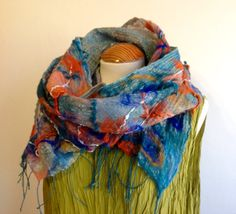 Orange & turquoise Nuno felted linen and silk scarf by Angelab5705