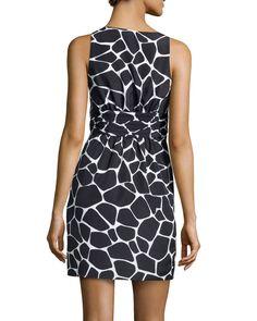 V-Neck Giraffe-Print Charmeuse Dress, Black
