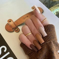 Cow Nails, Aycrlic Nails, Bling Nails, Nude Nails, Manicure, Gradient Nails, Gold Glitter Nails, Brown Acrylic Nails, Summer Acrylic Nails