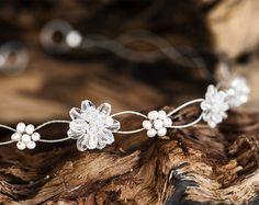 16_ Crystal headband, Pearl tiara, Silver headpiece, Wedding.