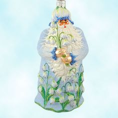 Muguets Des Bois Santa - Tribute To Lily - Blue, Patricia Breen Christmas Ornaments, 2006, 2636, flowers, Swarovski crystals, Mint With Tag