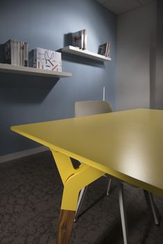 Kataba table @  Arpa Industriale headquarters in Bra. Yellow Unicolor from Arpa Solid Collection.
