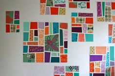 Mod mosaic quilt block by Elizabeth Hartman.This is fabric art.