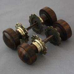 Edwardian Wooden Mortice/Rim Door Knobs Ebonized Wood & Brass | Door ...