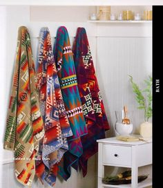 Pendleton Towels for the cabin Southwestern Decorating, Southwest Decor, Southwest Style, Textiles, Pendleton Towels, Home On The Range, Western Homes, Boho, Westerns