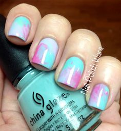 Watercolor nails- put drops of polish on the nail, and while they are still wet, put a ziplock bag over the nail and swirl around. Then carefully take the ziplock bag off and repeat with the other nails.