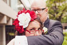 bride in red glasses