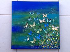 60 x 60cm mixed media on canvas....butterflies in teals, greens, blues and golds.