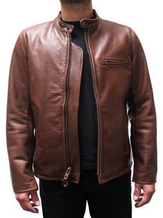 A timeless American made classic. Schott Cafe Racer Motorcycle Leather Jacket Waxed Brown Perfecto 530BRN