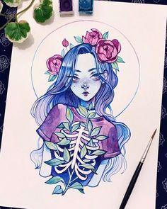 Dark Art Drawings, Art Drawings Sketches Simple, Pencil Art Drawings, Cute Drawings, Marker Kunst, Marker Art, Pretty Art, Cute Art, Arte Sketchbook