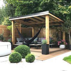 Hot Tub Pergola, Backyard Gazebo, Backyard Patio Designs, Pergola Patio, Backyard Landscaping, Outdoor Garden Rooms, Outdoor Gardens, Back Garden Design, Backyard Makeover
