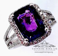 Untreated Purple Sapphire & Diamond Ring, 5.20 ct GIA Certified Cushion Cut Sapphire