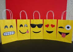 DIY Emoji Party Favor Bags/ Emojis Party Ideas/ Emoji Party Decoration. Simply: Print, Cut & Glue the Emoji Faces onto yellow colored Treat bags. Visit my Etsy Shop for more information . Printable Emoji Favor bags/ Emoticon loot/ candy/ goody/ goodie/ gift/ Treat/ bag/ bags/ box/ boxes/ supplies/ cake/ cupcake toppers/ balloons/ pinata/ shirt/ dress/ bottle labels/ stickers/ bolo/ pastel/ favors/ invite/ invitation/ banner/ emoji teen graduation party ideas/ graduation theme party.