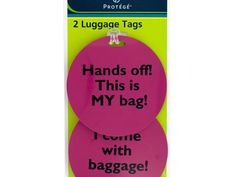 """Assorted Phrase Luggage Tags, 36 - Keep track of your bags with this fun 2-piece Assorted Phrase Luggage Tags Set featuring durable, round plastic tags in bright colors with fun phrases like """"Hands off! This is MY bag!"""", """"You've got enough baggage!"""" and more. Back of tag has spaces for personal contact information. Tags attach to bags with strong, transparent plastic cords. Each tag measures approximately 3.25"""" in diameter. Comes in assorted styles. Comes packaged to a hanging panel.-Weight…"""