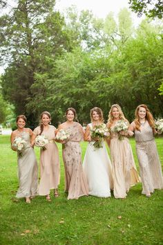 Kortni + Logan's Cedarwood wedding. Nashville, TN.  Gold, sequined and beaded bride maids gowns. Stunning! Photo by Krista Lee
