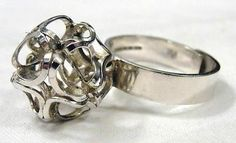 Elis Kauppi for Kupittaan Kulta, vintage modernist sterling silver ring, 1970's. #Finland