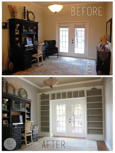 Ikea Shelves Into Built-in Bookcases. Maybe for the front room. Ikea Shelves Into Built-in Bookcases. Maybe for the front room. Billy Regal, Bookshelves Built In, Built Ins, Billy Bookcases, Bookcase Shelves, Unique Bookshelves, Wall Shelves, Bookshelf Ideas, Build A Bookshelf