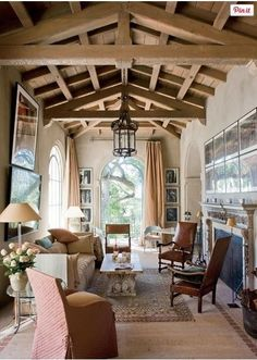 lovely room with exposed beams