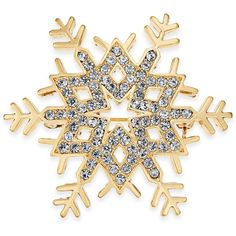 Charter Club Gold-Tone Pave Snowflake Pin, (33 CAD) ❤ liked on Polyvore featuring jewelry, brooches, gold, colored gold jewelry, snowflake jewelry, snowflake brooch, charter club and charter club jewelry