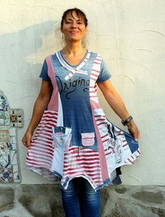 M-L Fantasy sailor striped appliqued patchwork recycled dress