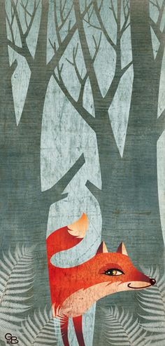 Cute fox in the woods. Illustration by Gaia Bordicchia.