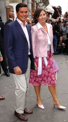 Carlos Morales and Princess Alexia of Greece leave Grand Hotel, Oslo to go to Skaugum for a private party for friends and young royals as part of the pre-wedding celebrations, of the wedding of Crown Prince Haakon of Norway and ms. Mette-Marit Tjessem Høiby, August 25th 2001