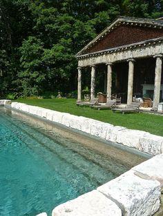 Incredible Greek Revival-esque poolhouse at Bunny Williams home in Connecticut   Quintessenceblog.com...