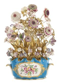 Ormolu-mounted Vincennes porcelain flowers (circa in a Sèvres bleu… Fine Porcelain, Porcelain Ceramics, Manufacture De Sevres, Glass Gemstone, Ceramic Flowers, Glass Ceramic, Antique China, China Patterns, Flower Power