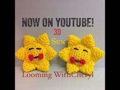 Rainbow Loom SUN 3d - Looming WithCheryl. Loomigurumi Tutorial is Now on YouTube! Charms / figures / gomitas / gomas. Crochet hook only. Please Subscribe ❤️❤ m.youtube.com/user/LoomingWithCheryl