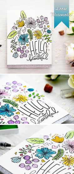 Loose Watercolor card with floral stamps. Doodle Drawing, Card Drawing, Cute Cards, Diy Cards, Mail Art, Tarjetas Diy, Watercolor Cards, Watercolour, Hello Beautiful